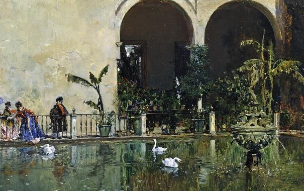 Фото обои картина, Раймундо Мадрасо, Пруд в Саду Альказар в Севилье