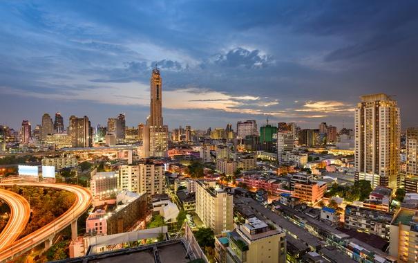 Фото обои закат, огни, дома, вечер, Таиланд, Бангкок, улицы