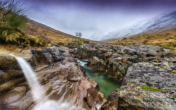 Фото обои трава, горы, ручей, камни, водопад, долина, Великобритания