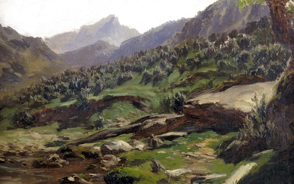 Фото обои пейзаж, горы, картина, склон, Карлос де Хаэс, Пикос де Эуропа
