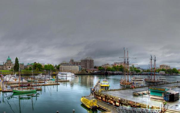 Фото обои река, яхты, лодки, Канада, катера, гавань, Downtown