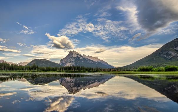 Фото обои лес, небо, вода, облака, деревья, горы, озеро