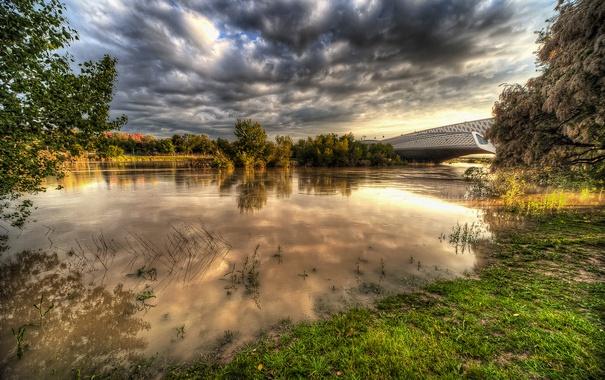 Фото обои облака, мост, река, HDR, Испания, Zaragoza, Aragon