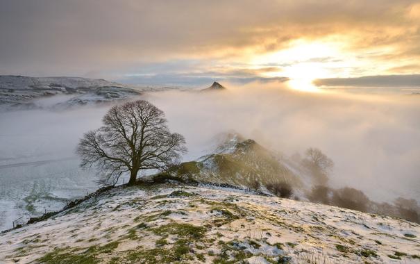 Фото обои зима, горы, природа, туман