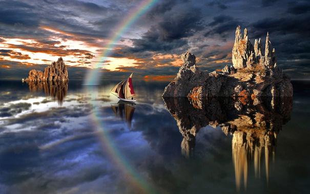 Фото обои озеро, скалы, лодка, радуга, парус