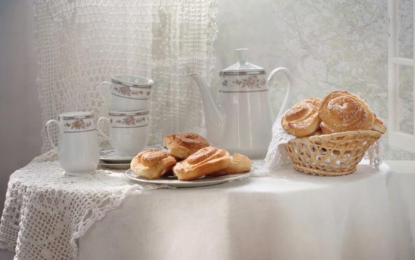 Фото обои посуда, натюрморт, выпечка, плюшки