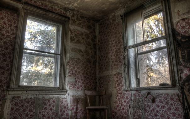 Фото обои комната, окна, стул