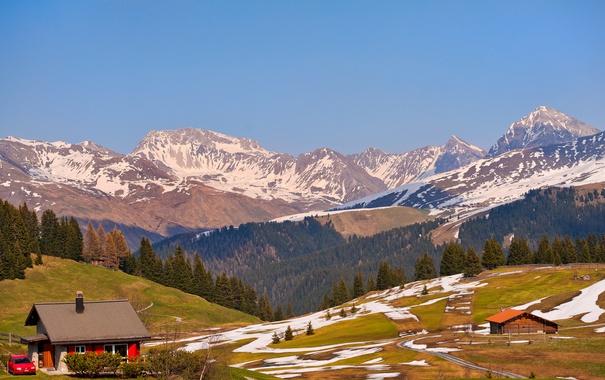 Фото обои снег, деревья, горы, Швейцария, домики, солнечно, леса
