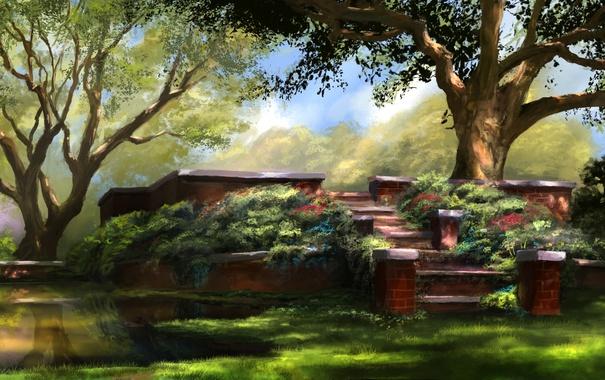 Фото обои цветы, озеро, сад, лестница, art, jjpeabody