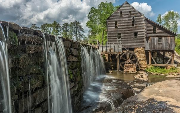 Фото обои плотина, мельница, США, Северная Каролина, Рейли, Greenbrook Farms