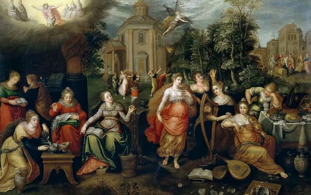 Фото обои картина, мифология, Неразумные и мудрые девы, Pieter Lisaert