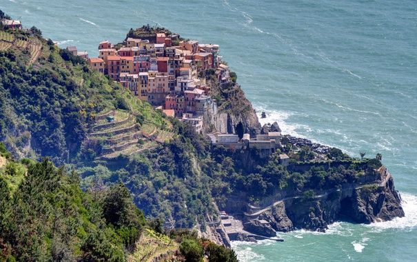 Фото обои море, пейзаж, скалы, дома, Италия, Манарола, Чинкве-Терре