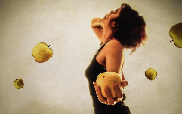 Фото обои девушка, фон, яблоки