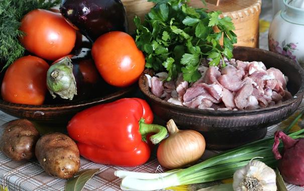 Фото обои зелень, лук, укроп, баклажаны, мясо, перец, овощи
