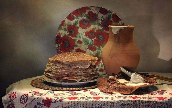 Фото обои тарелка, кувшин, натюрморт, блины, сметана