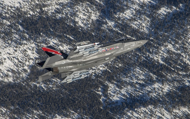 Фото обои полет, истребитель, бомбардировщик, Lightning II, F-35A