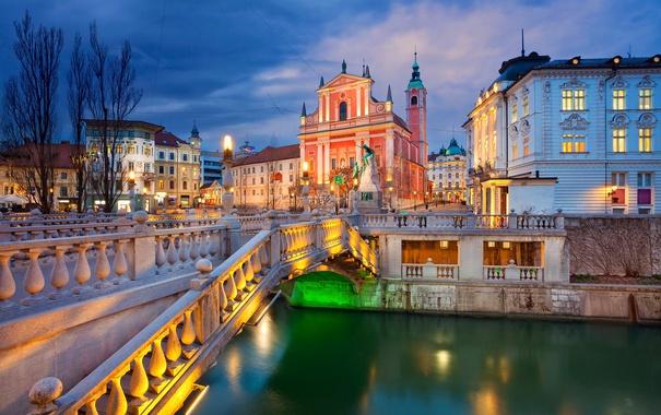 Фото обои ночь, мост, огни, река, дома, церковь, Словения