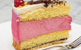Обои торт, слои, крем, кусок