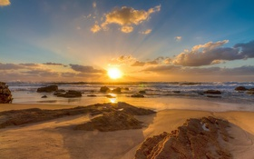 Картинка море, небо, облака, пейзаж, закат, природа