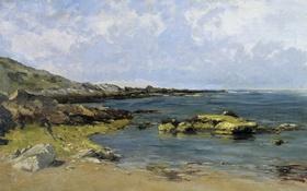 Обои камни, берег, картина, морской пейзаж, Карлос де Хаэс, Прилив