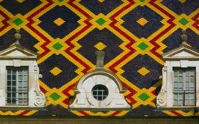 Обои крыша, узор, краски, плитка, Франция, текстура, окно