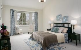 Обои дизайн, стиль, ковер, лампа, кровать, окно, кресла
