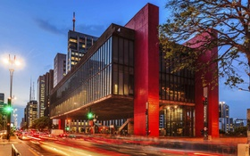 Обои музей современного искусства, Сан-Паулу, Бразилия, огни, ночь