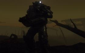 Обои фон, тьма, разруха, броня, Fallout 4