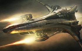 Обои космос, полет, корабль, Star Citizen, Banu Merchantman