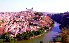 Картинка река, дома, Испания, Толедо