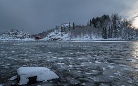 Обои зима, река, лёд