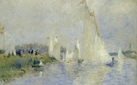 Обои Pierre-Auguste Renoir, небо, Пьер Огюст Ренуар, море, яхты, Regatta at Argenteuil, регата