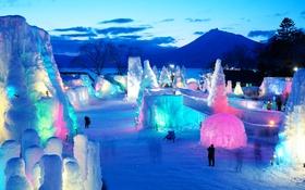 Обои лед, зима, гора, вечер, Япония, Хоккайдо, ледовый фестиваль