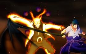 Обои злость, naruto, art, sharingan, uchiha sasuke, manga, uzumaki naruto