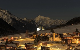 Обои зима, снег, горы, ночь, огни, дома, Швейцария