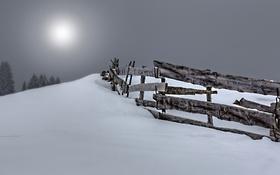 Обои снег, ночь, забор