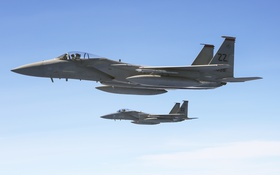 Обои полет, истребитель, Eagle, F-15