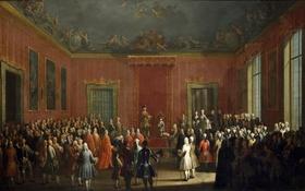 Обои люди, интерьер, картина, жанровая, Антонио Джоли, Отречение Карла III