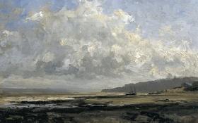 Обои море, пейзаж, берег, лодка, картина, Карлос де Хаэс, Окрестности Трувиля
