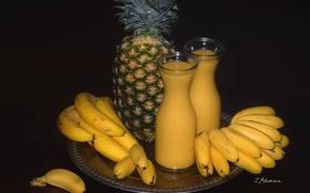Обои желтый, сок, бананы, фрукты, ананас