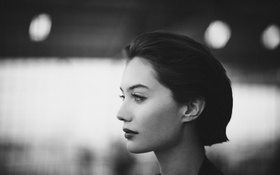 Картинка девушка, профиль, черно-белое, Dayna Frazer