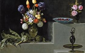 Обои картина, ваза, Цветами и Стеклянной Посудой, -Хуан ван дер Амен и Леон, Натюрморт с Артишоками