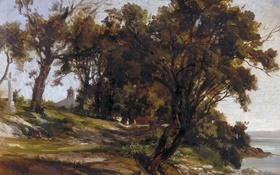 Обои деревья, пейзаж, картина, Карлос де Хаэс, Скит в Сан Висенте де ла Баркера