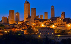 Обои Сан-Джиминьяно, Тоскана, Италия, дома, небоскреб, башня, огни