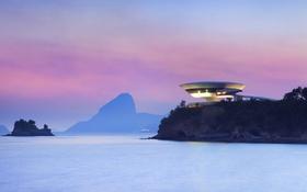Обои море, гора, зарево, Бразилия, Нитерой, Музей современного искусства
