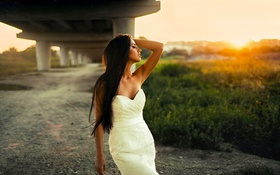 Картинка Girl, Sun, White, Summer, View, Hair, Dress