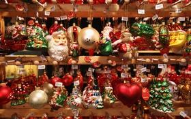Обои праздник, шары, сердце, елка, новый год, шар, гитары