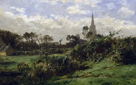 Обои трава, пейзаж, дом, картина, кусты, Карлос де Хаэс, Башня в Дуарнене
