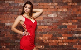 Картинка девушка, лицо, фон, стена, волосы, платье, в красном