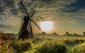 Обои поле, облака, солнце, небо, рассвет, мельница, трава
